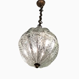 Italian Murano Glass & Brass Ceiling Lamp from Barovier & Toso, 1940s
