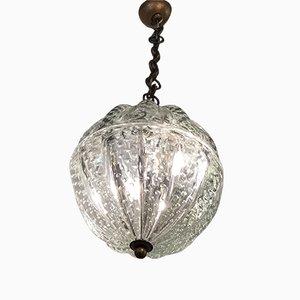Lampada da soffitto in vetro di Murano e ottone di Barovier & Toso, anni '40