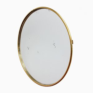 Mid-Century Italian Brass Framed Wall Mirror, 1950s
