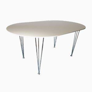 Tavolo da pranzo vintage a forma di ellisse su gambe a forcina