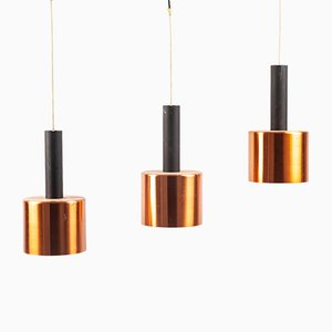 German Copper 3-Pendant Lamp, 1960s