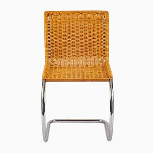 Sedia MR10 in metallo cromato e vimini di Ludwig Mies van der Rohe per Knoll International, anni '60