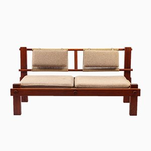 Brazilian Felt & Teak 2-Seater Sofa, 1960s