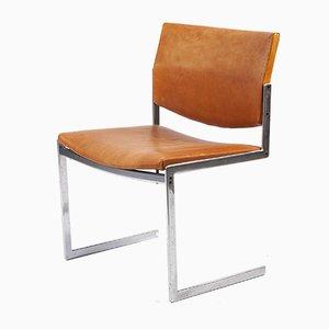 Sedia cantilever in pelle e metallo cromato di Preben Fabricius & Jørgen Kastholm per Kill International, anni '60