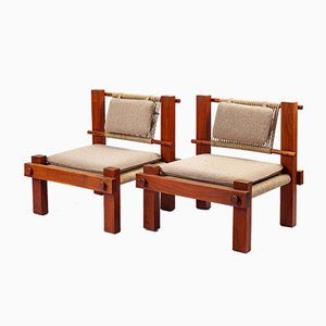 Brazilian Felt & Teak Lounge Chairs, 1960s, Set of 2