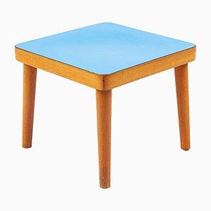 Mesa auxiliar pequeña de madera con tablero azul, años 70