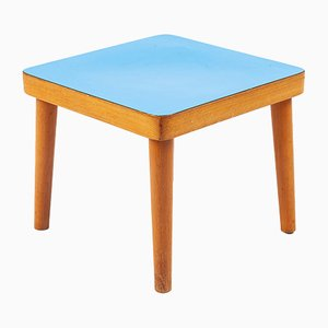 Tavolino in legno con ripiano blu, anni '70