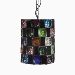 Brutalist Multicolored Glass Pendant Lamp, 1980s