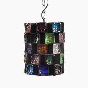 Lámpara colgante brutalista de vidrio multicolor, años 80