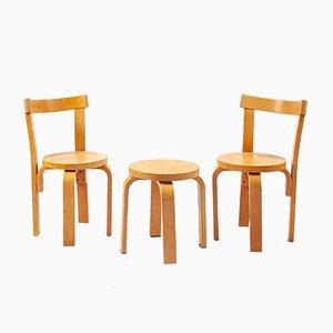 Juego de 2 sillas infantiles y taburete de Alvar Aalto, años 60