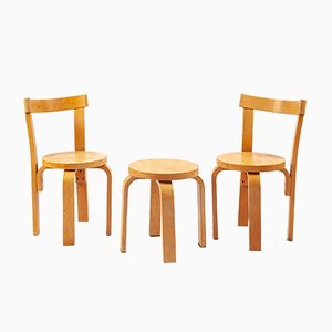 Set with 2 Children's Chairs & Stool by Alvar Aalto, 1960s