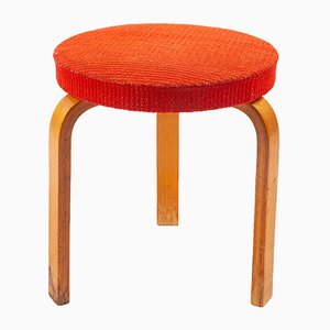 Red Fabric & Wood Stool by Alvar Aalto, 1960s