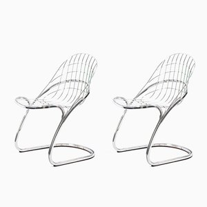 Chromed Wire Sabrina Chairs by Gastone Rinaldi, 1970s, Set of 2