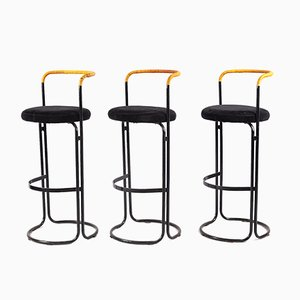 Black Metal & Rattan Barstools by Poul Norreklit, 1960s, Set of 3