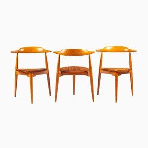 Heart Chair di Hans Wegner per Fritz Hansen, anni '60, set di 3