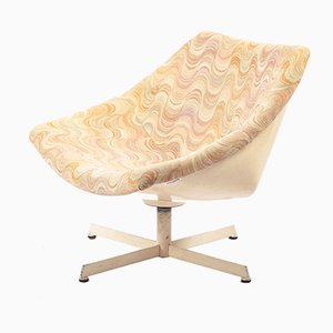 German Plastic Shell Lounge Chair with Psychedelic Fabric Upholstery, 1960s