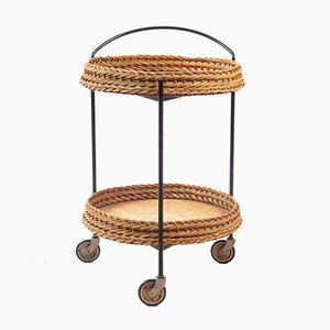 Rattan & Black Metal Tea Cart, 1960s