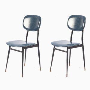 Chaises de Bureau en Métal Noires et Skaï Bleu Foncé par T. Archiutti, 1950s, Set de 2