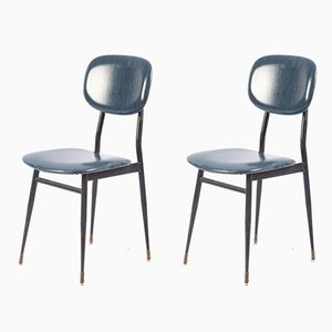 Schreibtischstühle aus Schwarzem Metall & Dunkelblauem Skai von T. Archiutti, 1950er, 2er Set