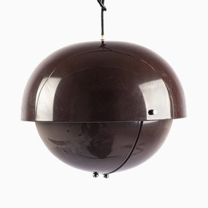Italian Brown Aluminium Pendant Lamp with Adjustable Shade, 1970s