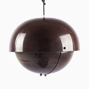 Lámpara colgante italiana de aluminio marrón con pantalla regulable, años 70