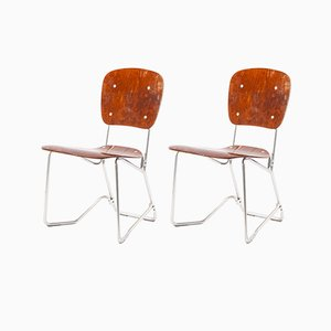 Chromed Metal & Wood Folding Chairs by Armin Wirth for Aluflex, 1940s, Set of 2