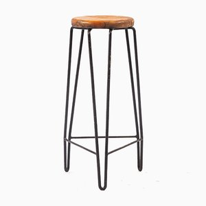 Dutch Wood & Black Metal Barstool, 1960s