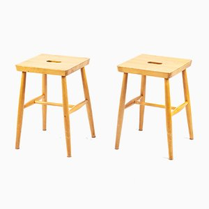 German Wooden Stools, 1960s, Set of 2