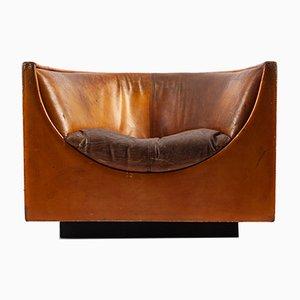 Club chair Cubo in pelle di Jorge Zalszupin per L'Atelier, anni '70