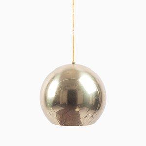 Lampe à Suspension Sphérique en Métal Doré de Staff, 1970s