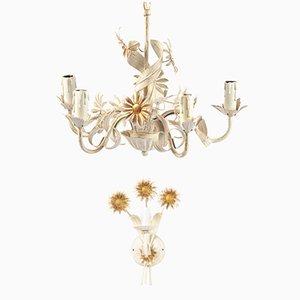 Juego de lámpara de araña y aplique floral de metal blanco, años 70