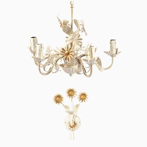 White Floral Metal Set with Chandelier & Sconce, 1970s