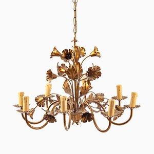 Lámpara de araña floral de metal dorado, años 70