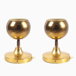 Lámparas de mesa alemanas esféricas doradas, años 70. Juego de 2