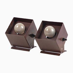 Lampes de Bureau Cube Marron, Allemagne, 1960s, Set de 2