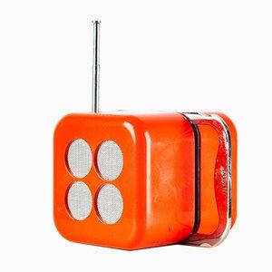 Radio Cubo en rojo de Dario & Mario Bellini para Siemens, años 60