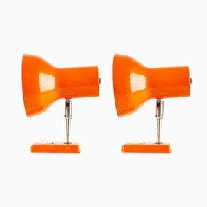 Orangefarbene Wandlampen, 1970er, 2er Set