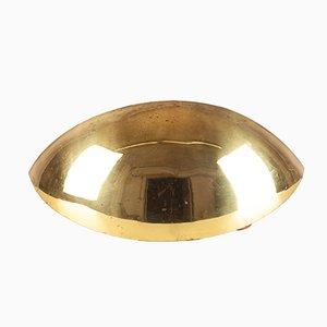 Lámpara de pared italiana en forma de medialuna dorada, años 60