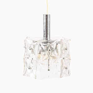 German Crystal Glass Pendant Lamp, 1960s