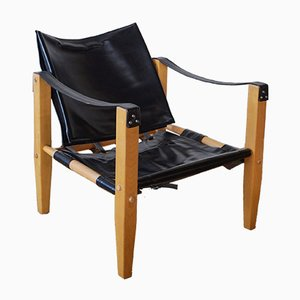 Safari Black Leather Armchair from Artek, 1960s
