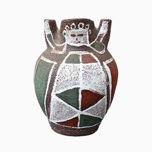Mid-Century Keramikvase mit menschlichem Motiv von Accolay, 1950er