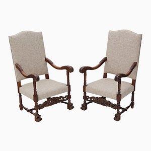 Antike Charles II Revival Eichenholz Armlehnstühle, 1900er, 2er Set