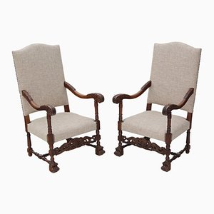 Antique Charles II Revival Oak Armchairs, 1900s, Set of 2