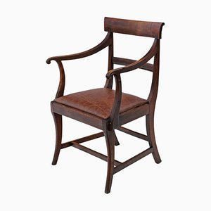 Antique Mahogany Elbow Desk Chair, 1820s