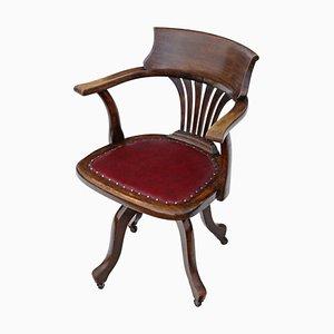 Chaise de Bureau Pivotante Antique en Hêtre, 1900s