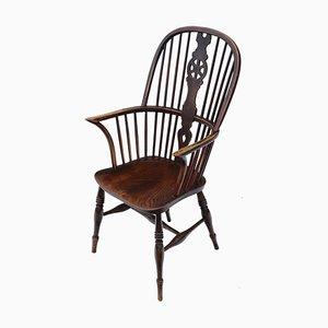 Antiker viktorianischer Windsor Armlehnstuhl aus Eschen- & Ulmenholz, 1840er