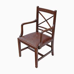 Antique Georgian Revival Oak Elbow Chair, 1910s