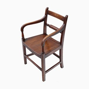Antique Georgian Elm Elbow Desk Chair, 1800s