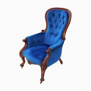 Antiker viktorianischer Sessel mit Gestell aus Mahagoni, 1870er