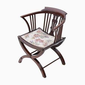 Antiker viktorianischer Beistellstuhl aus Mahagoni mit Kreuzgestell